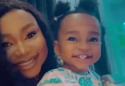 Ruth Kadiri shares an adorable video of herself & daughter, Reign