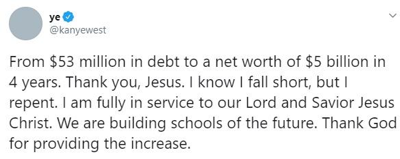 Kanye West thanks JESUS for making him RICH