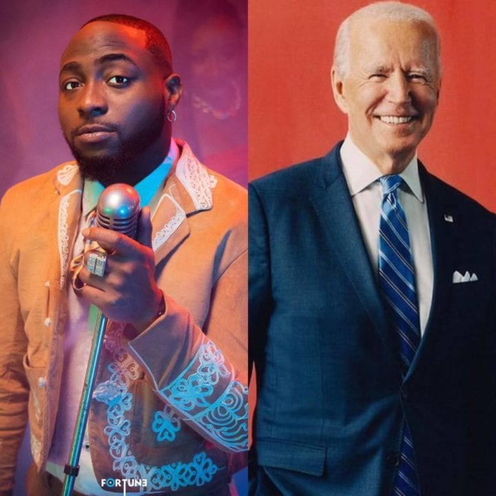 Davido Sends Congratulatory Message To The US President, Joe Biden