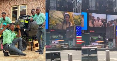 Ikorodu Bois appear on Times Square's billboard in New York