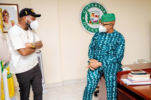 Davido visits Governor Dapo Abiodun in Ogun state government house