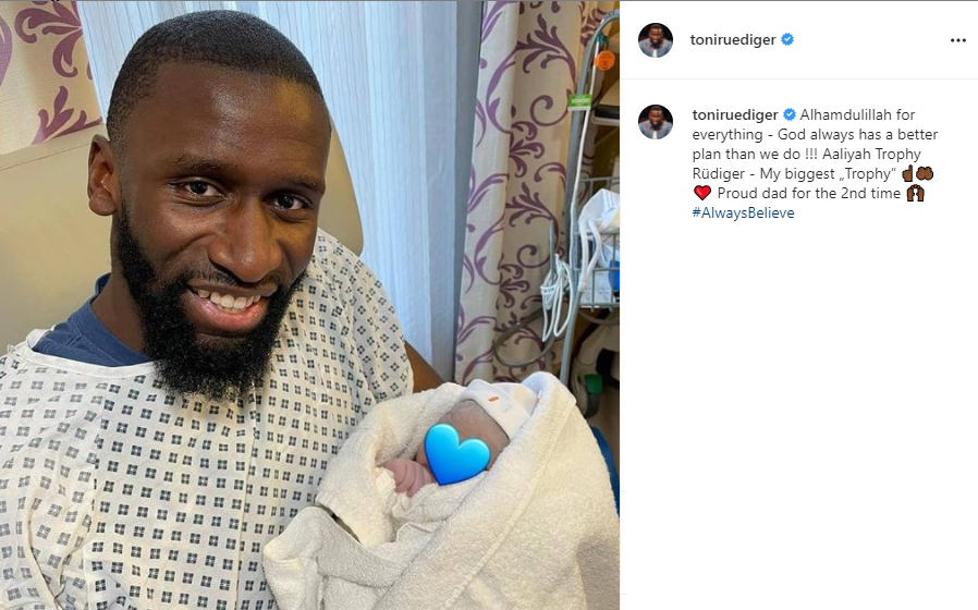 Chelsea star, Antonio Rudiger becomes a dad for second time, names the baby girl after his Champions League win