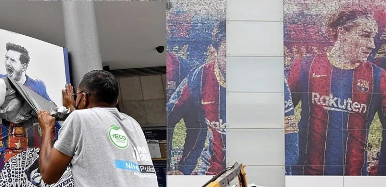 Lionel Messi images removed from Barcelona's stadium