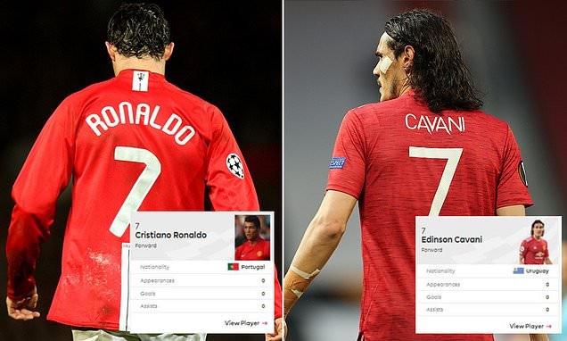 Confusion as Premier League list both Cristiano Ronaldo and Edinson Cavani as Manchester United's No 7 this season
