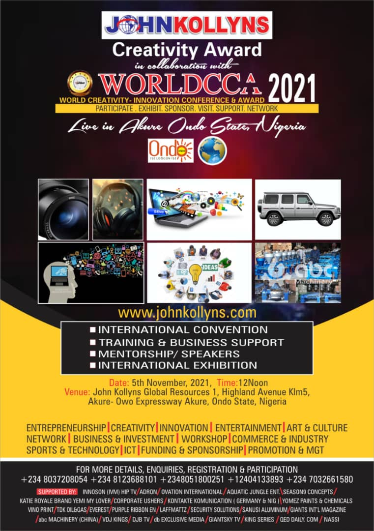 GBENGA ADEYINKA, RAMSEY NOAH, FOLUKE DARAMOLA, IDOWU BABALOLA,  SUNDAY ARE & MORE TO RECEIVE WORLDCCA CREATIVITY – INNOVATION AND JOHN KOLLYNS AWARD 2021