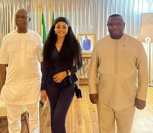 Regina Daniels joins her husband, Ned Nwoko to meet Sierra Leone President